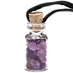 Bilde av Glass gift bottle on wax cord with amethyst