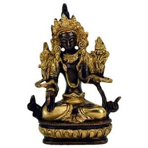 Bilde av White Tara brass/golden statuette