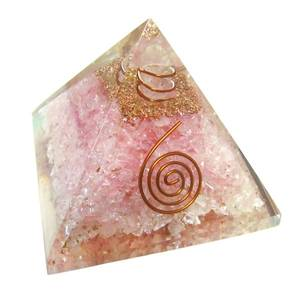Bilde av Orgonite Rose Quartz Pyramid With Copper Spiral