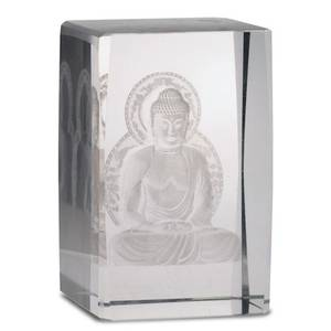 Bilde av Crystal laser Buddha on lotus throne rectangular