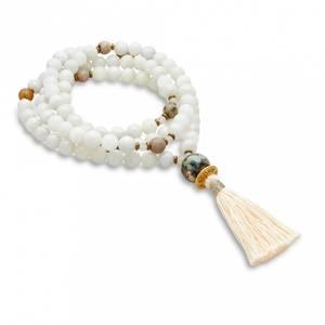 Bilde av Mala kjede /Beads  White moonstone, matte rose