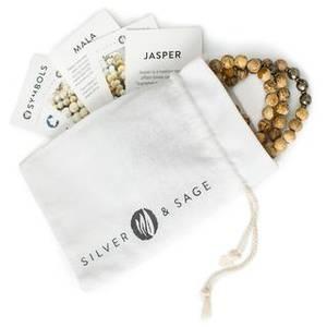 Bilde av Mala Assorted gemstones, matte white agate &