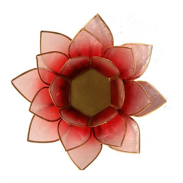 Lotus telysholder / Lotus atmospheric light red/rose gold trim
