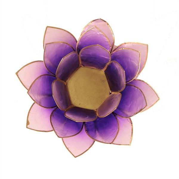 Lotus telysholder / Lotus atmospheric light violet gold trim
