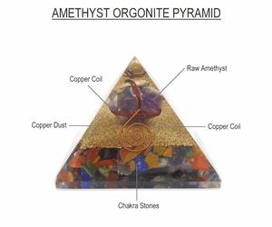 Bilde av Orgonitt Pyramide Chakra og Ametyst Stor 70 mm
