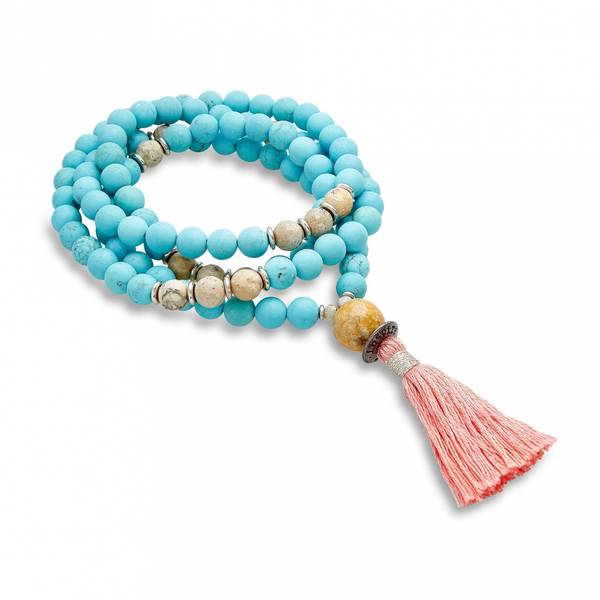 Mala Kjede/Matte turquoise & faceted african opal with silver-pl