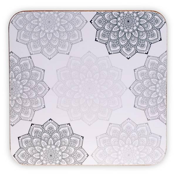 Coasters Mandala grey set of 6