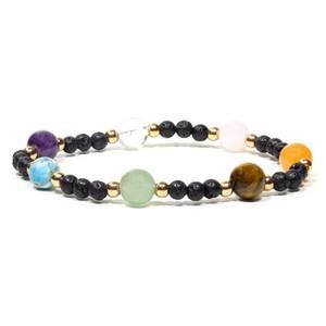 Bilde av  Lava rock bracelet with 7 gems elastic