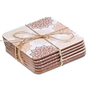 Bilde av Rosa Mandala brikker/Coasters Mandala pink set of