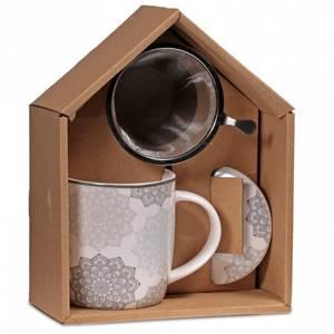 Bilde av Krus / Gift box Tea Infuser Mug Mandala grey
