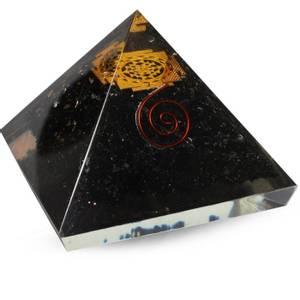 Bilde av Orgonite Pyramid - Black Tourmaline, Sri Yantra