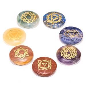 Bilde av SET 7 Chakra Symbols circular flat stones