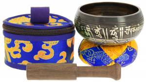 Bilde av Black Tibetan bowl with symbols - 7,5 cm