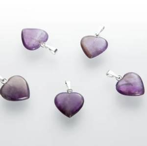 Bilde av Anheng Ametyst hjerte 15 mm  AA-kvalitet