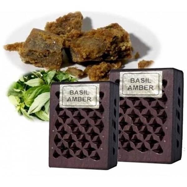 Røkelse /Incense resin Basil/Amber in wooden box