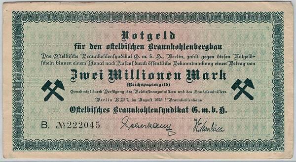 Bilde av Ostelbischen Brannkohlenbergbau 2 millioner mark 1923