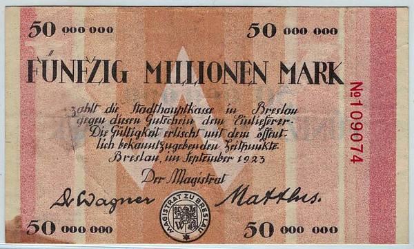 Bilde av Breslau 50 millioner mark 1923