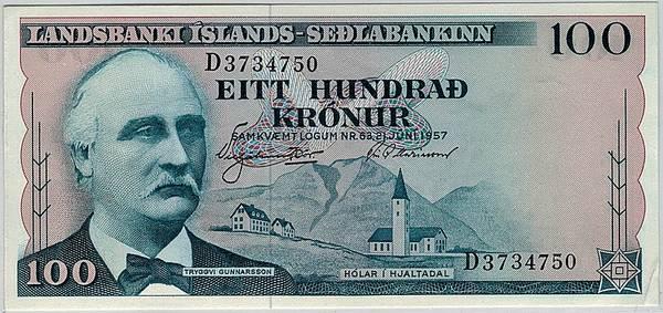 Bilde av Island 100 krónur 1957