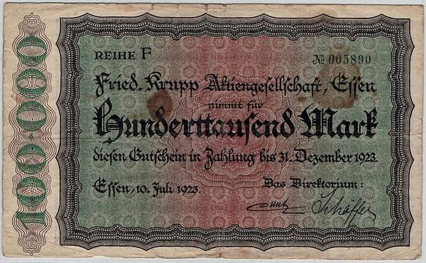 Bilde av Krupp 100 000 mark 1923