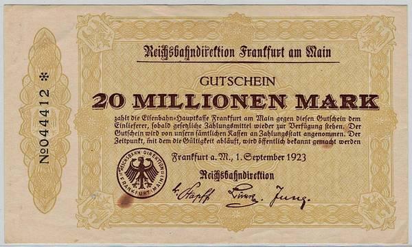 Bilde av Reichsbahn 20 millionen mark 1923