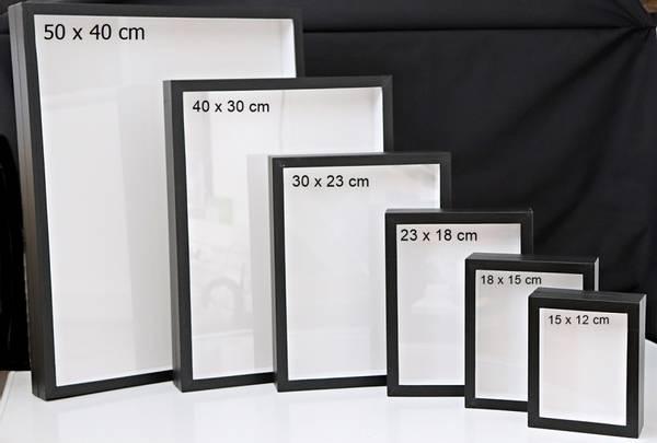Bilde av Svart insektkasse (insektramme) med glasslokk, 15 x 12 x 5,5 cm