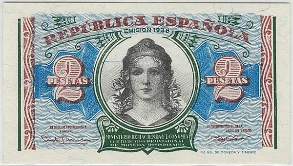 Bilde av Spania 2 pesetas 1938
