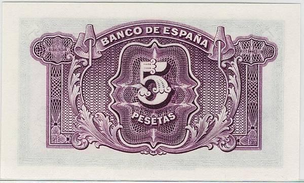 Bilde av Spania 5 pesetas 1935