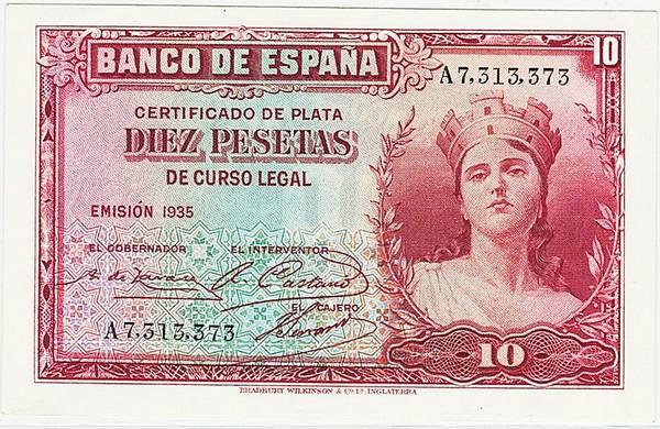 Bilde av Spania 10 pesetas 1935
