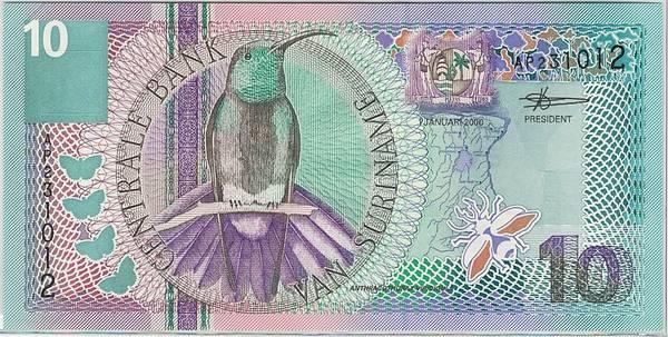 Bilde av Surinam 10 gulden 2000