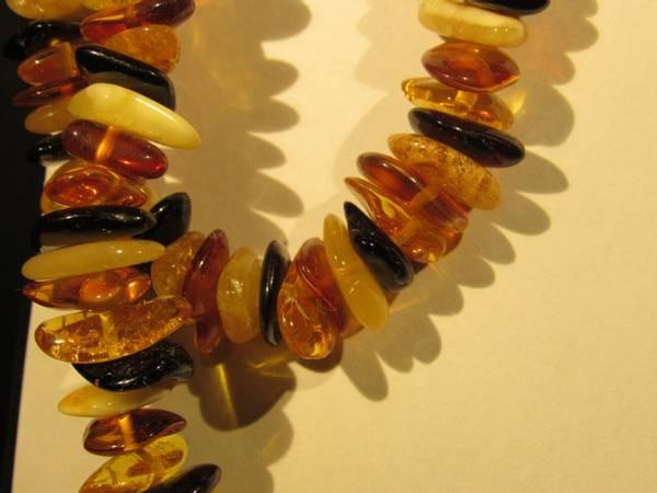 Bilde av Halskjede, rav, flerfarget, 70 cm, store chips