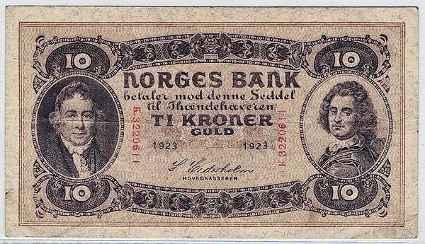 Bilde av 10 kroner 1923 K