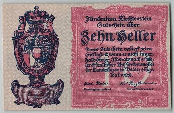 Bilde av Liechtenstein 10, 20, 50 heller - første sedler