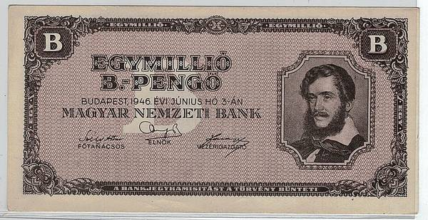 Bilde av Ungarn 1 million billion pengö 1946
