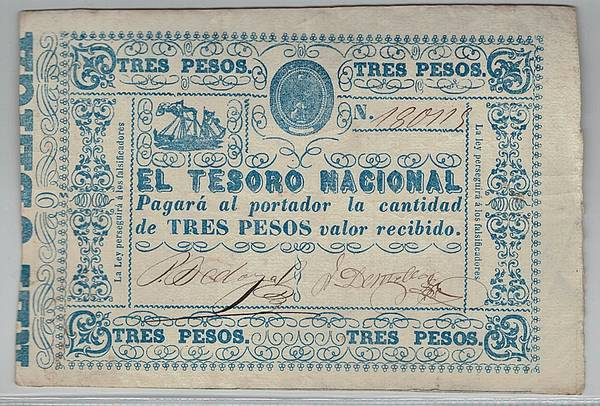 Bilde av Paraguay 3 pesos 1865