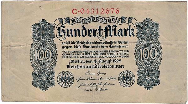 Bilde av 100 mark 1922 Inflasjonsseddel
