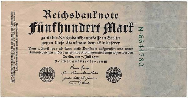 Bilde av 500 mark 1922 Inflasjonsseddel