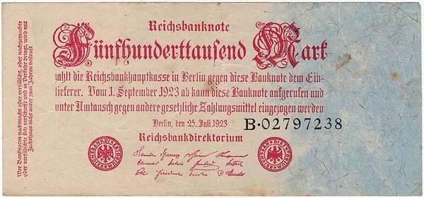 Bilde av 500 000 mark 1923 Inflasjonsseddel