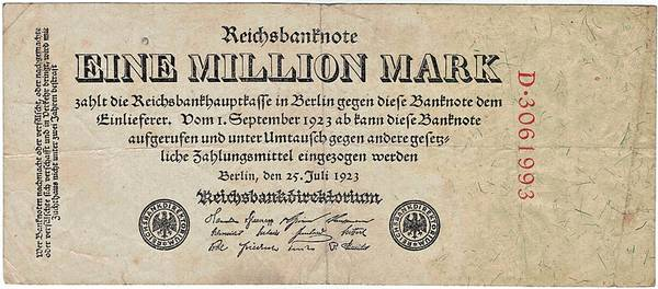 Bilde av 1 000 000 mark 1923 Inflasjonsseddel