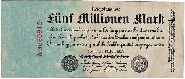 Bilde av 5 000 000 mark 1923 Inflasjonsseddel