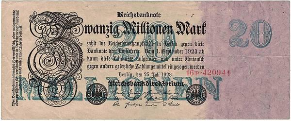 Bilde av 20 000 000 mark 1923 Inflasjonsseddel