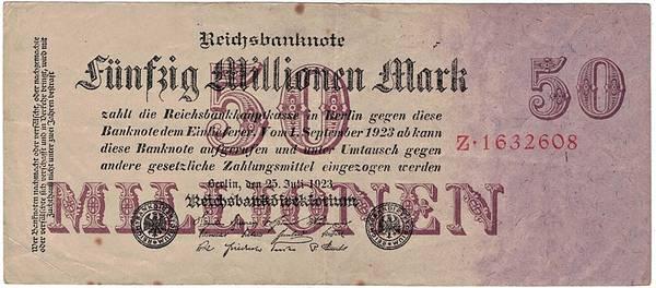 Bilde av 50 000 000 mark 1923 Inflasjonsseddel