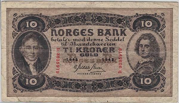 Bilde av 10 kroner 1943 D