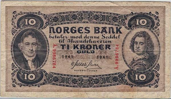 Bilde av 10 kroner 1941 Å