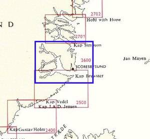 Bilde av Kap Brewster - Kap Simpson 1 : 400 000