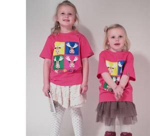 Bilde av T-skjorte barn Rosa med 4 elg