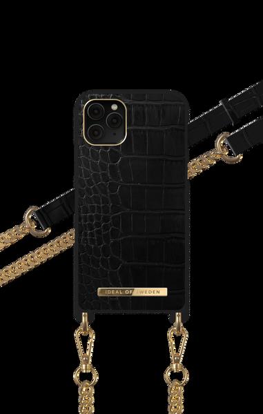Phone Necklace Case iPhone 11 Pro/XS/X Jet Black Croco