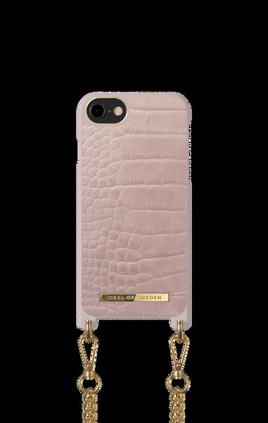 Phone Necklace Case iPhone 8/7/6/6s/SE Misty Rose Croco