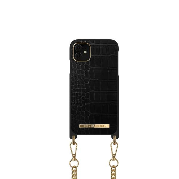 Bilde av Phone Necklace Case iPhone 11/XR Jet Black Croco