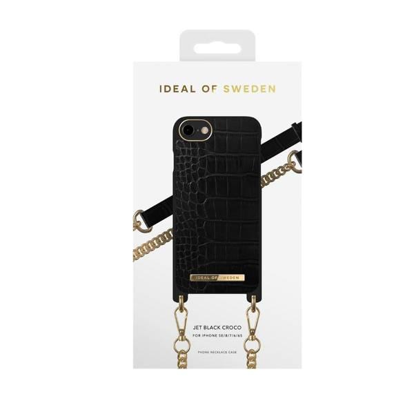 Bilde av Phone Necklace case iPhone 8/7/6/6s/SE Jet Black Croco
