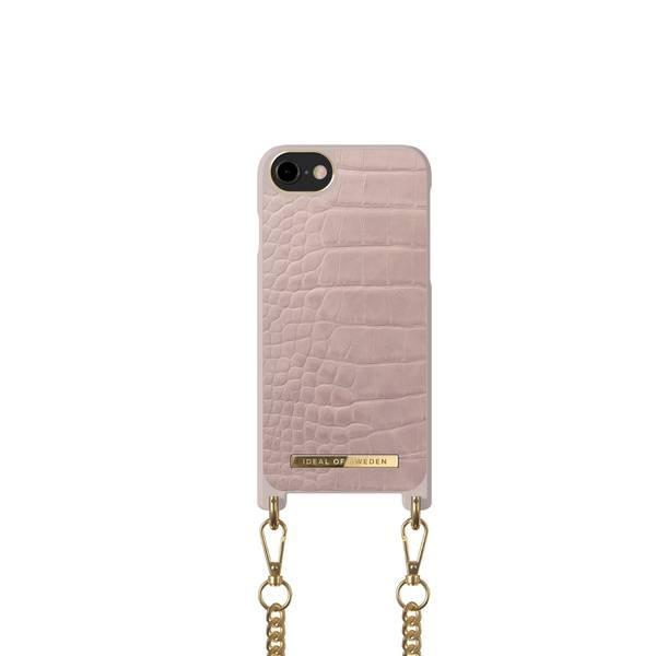 Bilde av Phone Necklace Case iPhone 8/7/6/6s/SE Misty Rose Croco